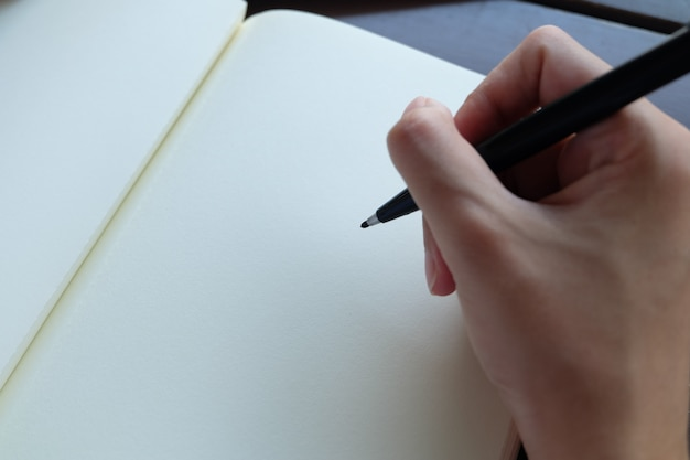 Mano che tiene penna nera