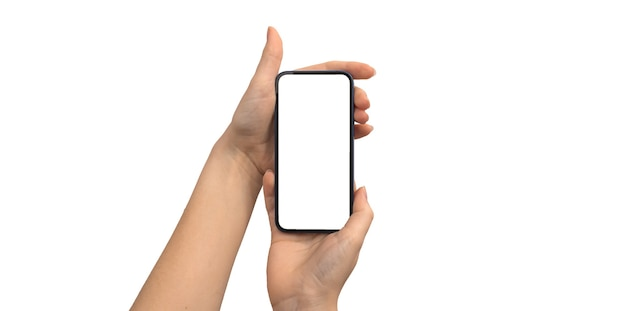 Hand holding black screen of smartphone or mobile phone, mockup for advertisement and social media, business and technology concept, clipping path photo