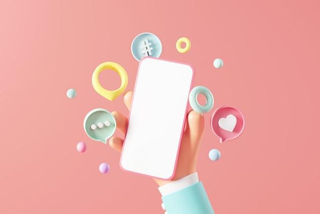 분홍색 배경에 소셜 미디어가 있는 빈 휴대폰을 들고 있는 손