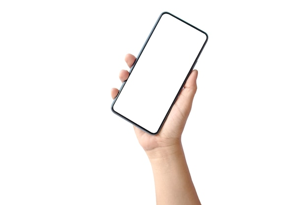 Hand holding a blank screen smartphone isolated on white with the clipping path.