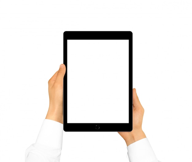 Hand holding blank tablet mock up isolated.