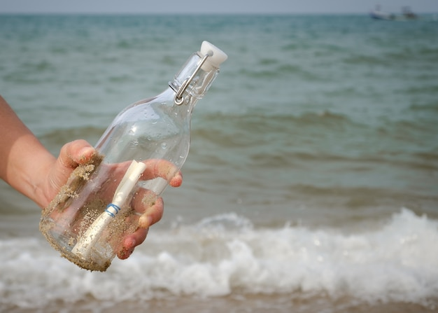 Hand holding a bottle with a letter inserted inside by the sea.