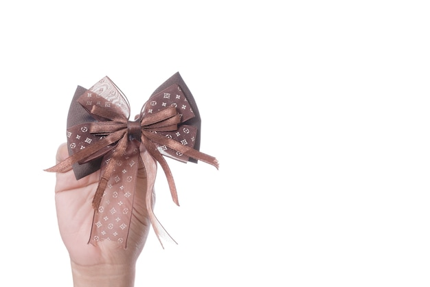 Hand holding brown hair ribbon bow