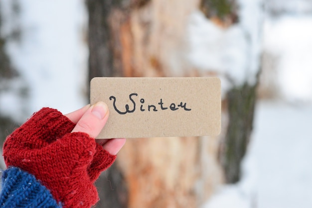 Hand holding a card in winter park.  copy space. winter text on a card.