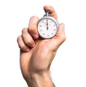 Hand holding Chronometer over isolated white background