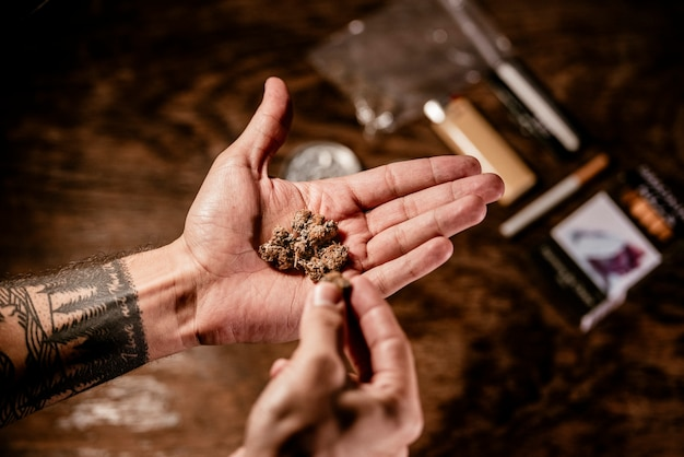A hand holding compact marihuana buds with tobacco, lighter and grinder in the background.