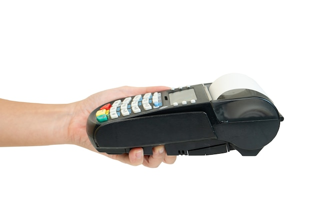 Hand holding credit card swipe machine on white