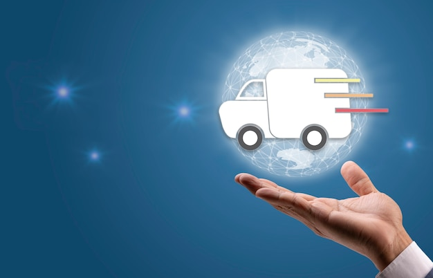 Hand holding fast truck delivery service icon worldwide shipping online delivery service concept