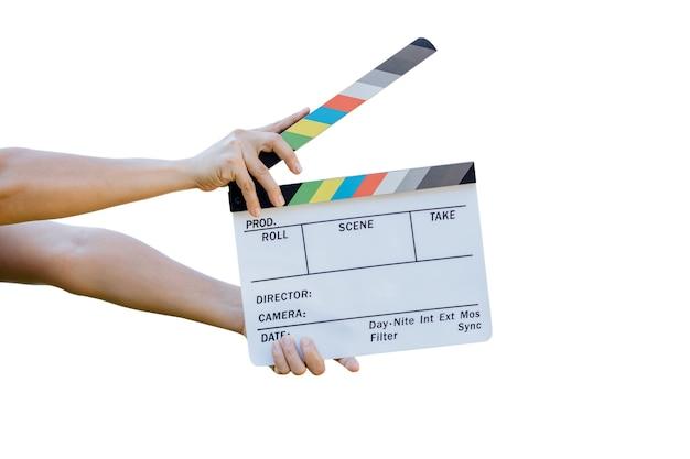 영화 시네마 및 텔레비전용 필름 슬레이트 색상 보드를 들고 있는 손
