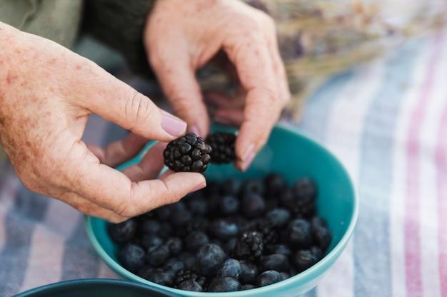 Hand holding fresh blackberry