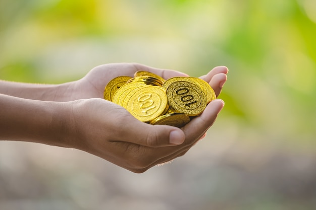 Hand holding gold coins on nature background