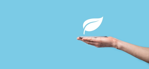 Hand holding green leaf with icons energy sources for renewable, sustainable development. ecology concept.technology ecology concept.