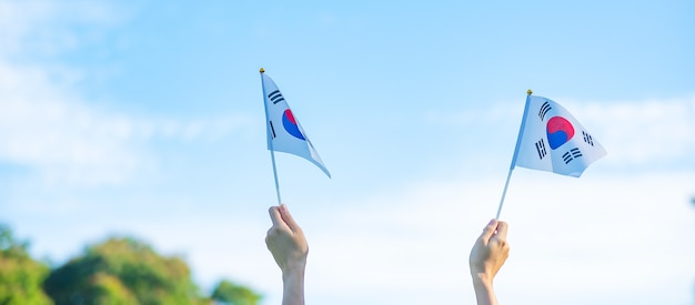 Рука, держащая флаг кореи на фоне природы. национальный фонд, кечхончжол, государственный праздник нации, день национального освобождения кореи и концепции счастливого празднования