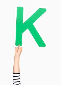 Hand holding the letter k