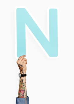 Hand holding the letter n