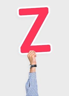 Hand holding letter z sign
