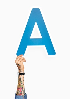 Hand holding the letter a