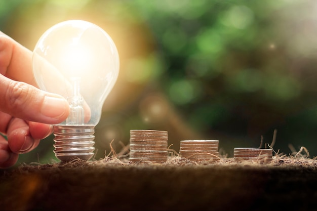 Hand holding light bulb with coins stack. business success, saving money, money management for the future concept,