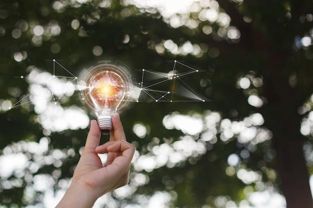 軽いフレアで電球を持っている手はボケ味の自然の背景をぼかします。エコイノベーション環境とアイデアの創造的な概念。