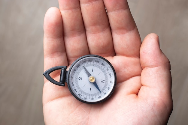 Hand holding a magnetic compass close up