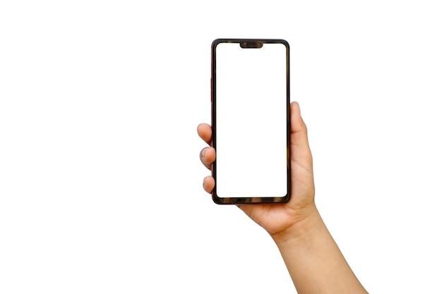 カットパスと白い背景で隔離の携帯電話を持っている手