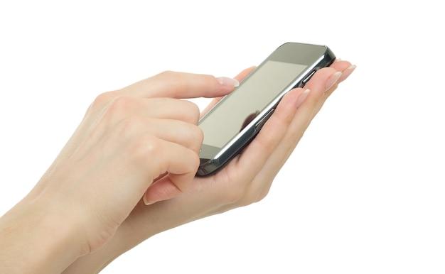 손을 잡고 빈 화면으로 휴대 전화
