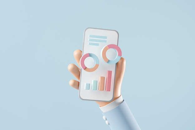 データチャートオンラインマーケティングで携帯電話を持っている手