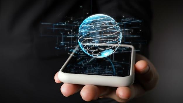 Рука держит мобильный телефон с голографической технологией земного шара