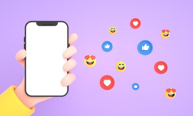 분홍색 배경에 휴대폰 모형을 위한 소셜 미디어 아이콘과 이모티콘이 있는 휴대폰을 들고 있는 손