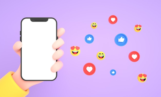 Hand holding mobile phone with social media icons and emojis for phone mockup on pink background