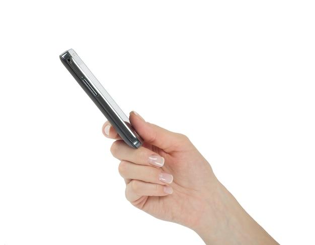 빈 화면으로 모바일 스마트 폰을 들고 손