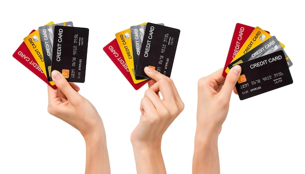 손을 잡고 모형 신용 카드, 제스처 컬렉션 흰색 배경에 고립. 클리핑 패스가 있는 현대적인 디자인.