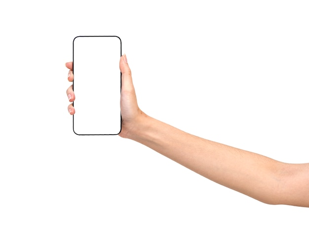 Hand holding mockup smartphone