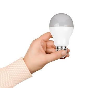 Рука современная светодиодная лампа на белом фоне