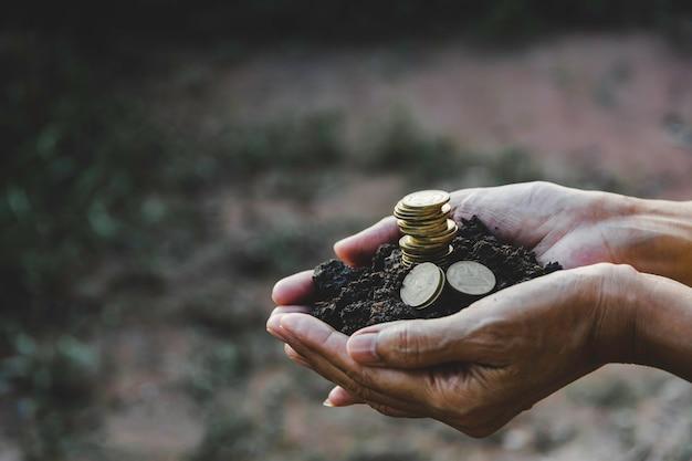 お金のコインスタックを持っている手。財務および会計の概念。