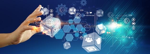 Рука, держащая сетевое подключение. концепция связи бизнес-сети