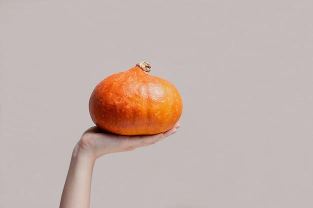 Рука, держащая оранжевую тыкву перед серым