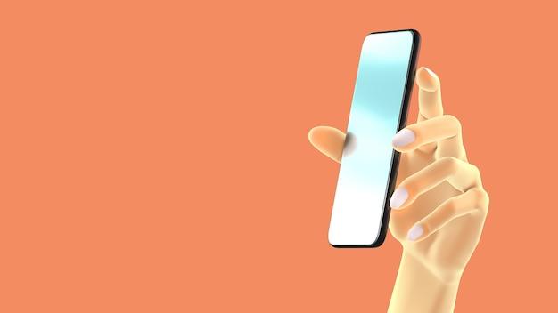 손을 잡고 전화, 배경에 고립입니다. 3d 그림. 소셜 미디어, 앱, 메시지 및 댓글의 모형 개념 집합입니다.