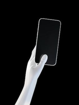 손을 잡고 전화, 검은 배경에 고립입니다. 3d 그림. 소셜 미디어, 앱, 메시지 및 댓글의 모형 개념 집합입니다.