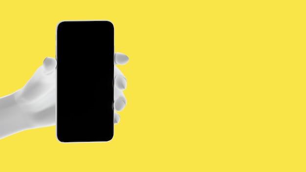 손을 잡고 전화, 노란색 배경에 고립입니다. 3d 그림. 소셜 미디어, 앱, 메시지 및 댓글의 모형 개념 집합입니다.