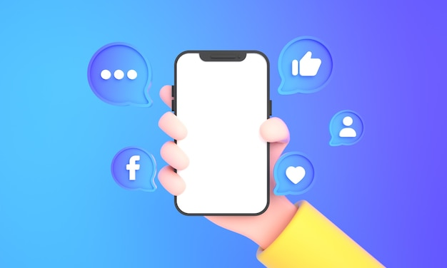 Hand holding phone with social media icons and facebook logo and like for phone mock up