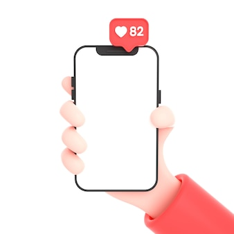 Hand holding phone with social media icons and instagram logo and like for phone mock up