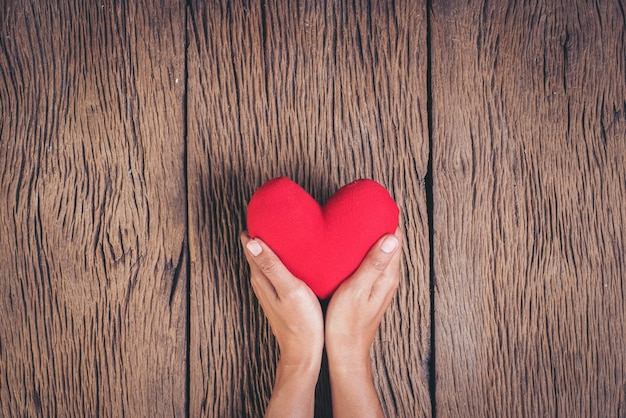 Рука держит красное сердце на фоне дерева