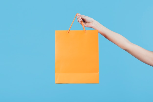 Hand holding shopping bag on plain background