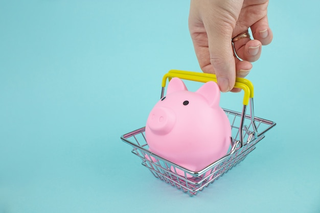 Hand holding shopping basket with piggy bank on blue background, save and management concept. saving money for sales of the year, black friday concept.