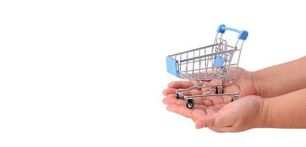 A hand holding a shopping cart