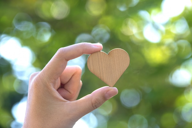 Hand holding small wooden heart on green background.heart disease