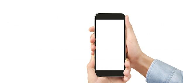 Рука держа смартфон устройство с сенсорным экраном