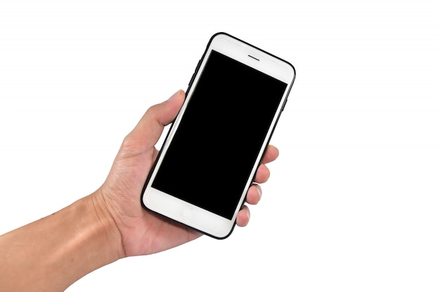 Hand holding smartphone or mobile cell phone with blank screen