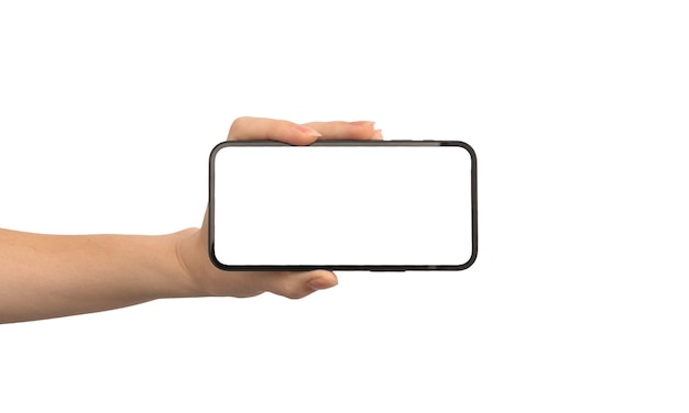 Hand holding smartphone or mobile phone horizontally mockup screen for advertisement and social media, business and technology concept, clipping path photo